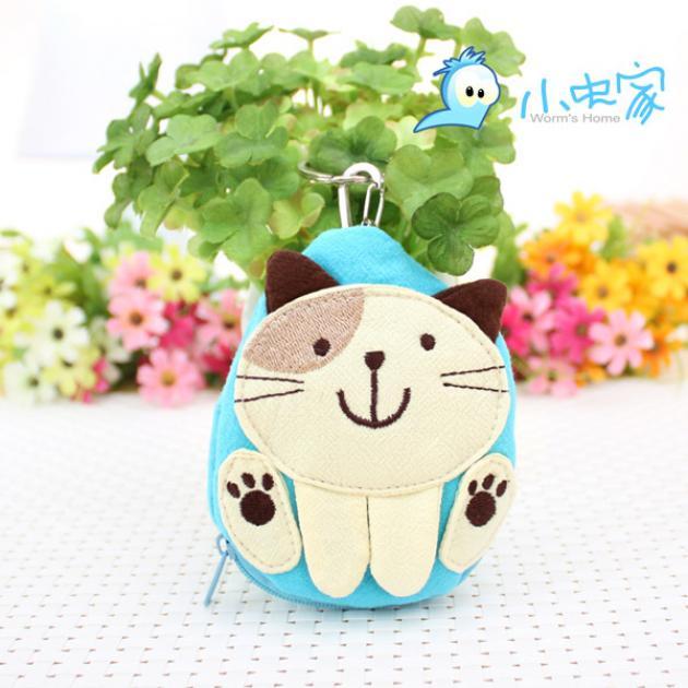 可爱 蓝底白猫 零钱包 钥匙包